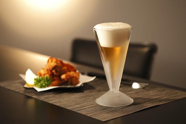 ビール ビア から揚げ ディナー 泡立 フロスト rayes レイエス スクエア ダブルウォールグラス