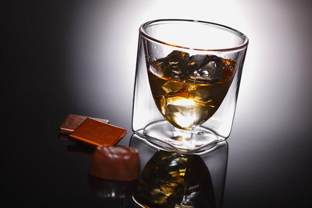 ウィスキー ロック チョコレート rayes レイエス スクエア ダブルウォールグラス