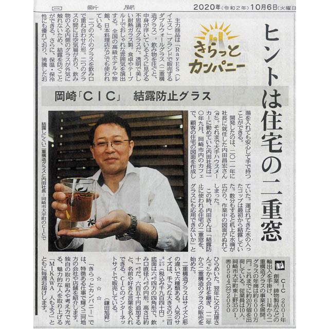 メディア 中日新聞 内田昌宏 rayes レイエス スクエア ダブルウォールグラス