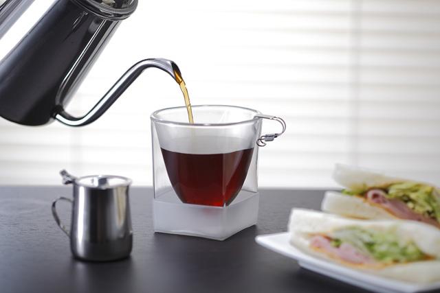 珈琲 コーヒー ホット サンドウィッチ rayes レイエス スクエア ダブルウォールグラス