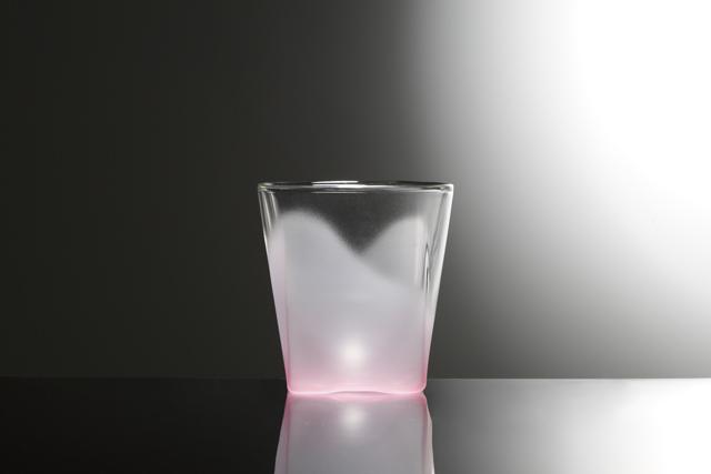 桃 ピンク フロスト 白 ホワイト グラデーション 透明 カラー rayes レイエス スクエア ダブルウォールグラス