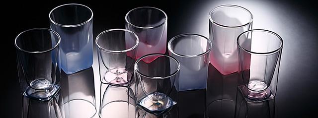 青 桃 ブルー ピンク 透明 フロスト グラデーション カラー rayes レイエス スクエア ダブルウォールグラス