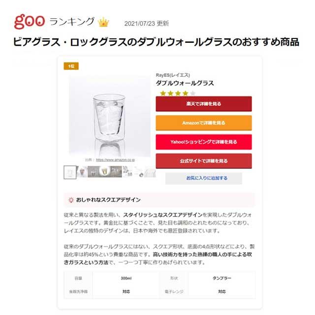 goo ランキング ビール ビアグラス ロックグラス 1位 rayes レイエス ダブルウォールグラス