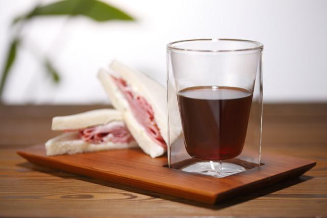 ホット コーヒー 珈琲 サンドウィッチ チーク プレート rayes レイエス スクエア ダブルウォールグラス