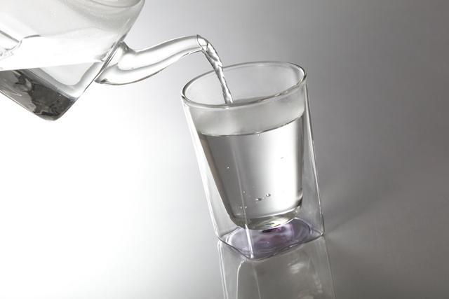 ホット お湯 桃 紫 ピンク パープル クリアー グラデーション 透明 カラー rayes レイエス スクエア ダブルウォールグラス