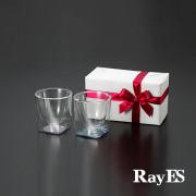 ブルー ピンク 青 桃 透明 グラデーション カラー ペア ギフト rayes レイエス スクエア ダブルウォールグラス