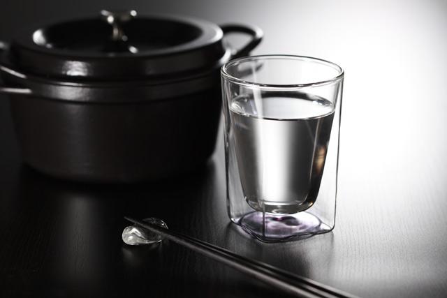 鍋 焼酎 桃 紫 ピンク パープル クリアー グラデーション 透明 カラー rayes レイエス スクエア ダブルウォールグラス
