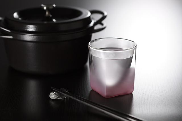 鍋 焼酎 桃 ピンク フロスト 白 ホワイト グラデーション 透明 カラー rayes レイエス スクエア ダブルウォールグラス