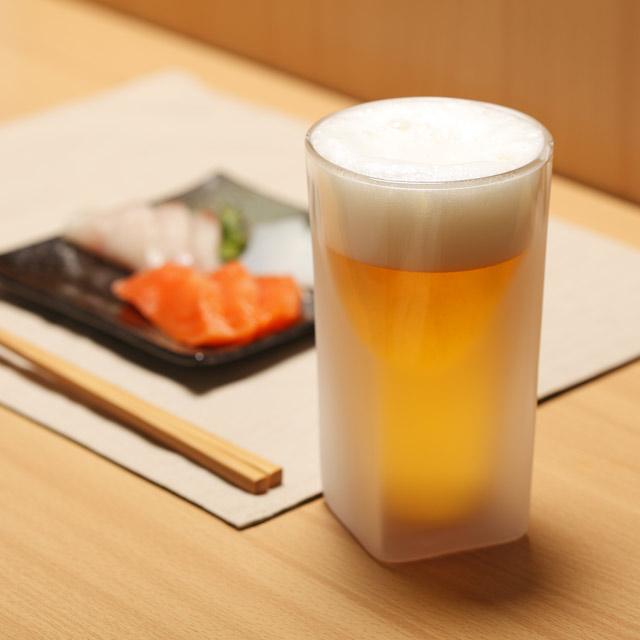ビール 刺身 beer rayes レイエス スクエア ダブルウォールグラス