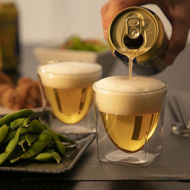 ビール 家のみ beer rayes レイエス スクエア ダブルウォールグラス
