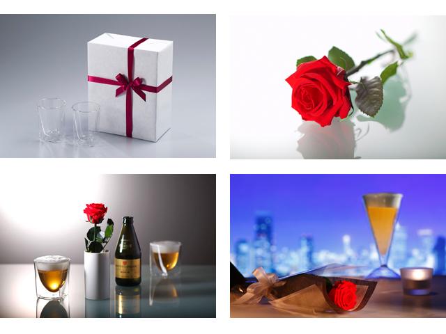 バラ ローズ bara rose プリザーブド フラワー ギフト ウィスキー 水割り ロック rayes レイエスダブルウォールグラス