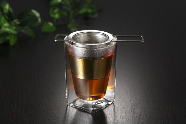 ティーストレーナー 茶こし 紅茶 折り畳み rayes レイエス スクエア ダブルウォールグラス