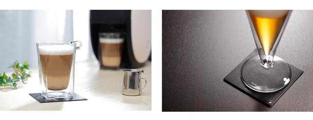 栃木レザー 天然本革 コースター コーヒー バリスタ ビール rayes レイエスダブルウォールグラス