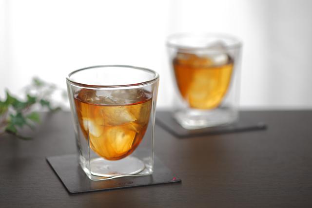 栃木レザー 天然本革 コースター ティー rayes レイエスダブルウォールグラス