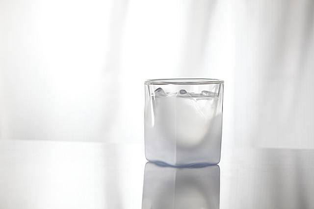 朝 水 青 ブルー フロスト 白 ホワイト グラデーション カラー rayes レイエス スクエア ダブルウォールグラス
