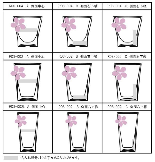 焼き付け 名入れ さくら 桜 マーク 刻印 ギフト プレゼント おしゃれ rayes レイエス スクエア ダブルウォールグラス